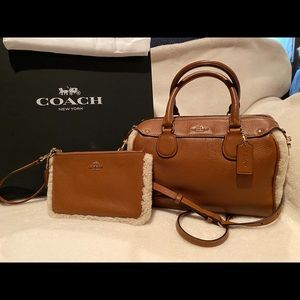 Coach Wristlet with Brown Leather and Shearling